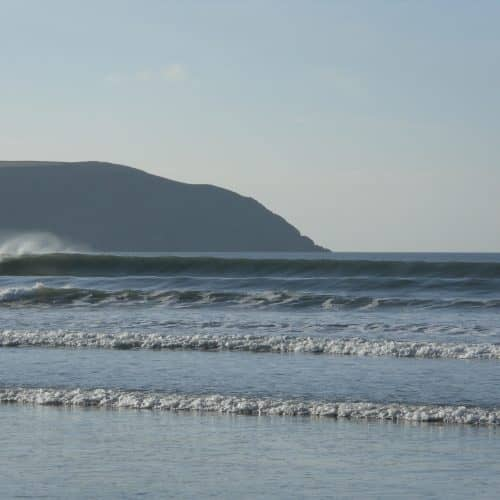 The beautiful waves at Woolacombe Beach in North Devon, close to Bampfield Farm.