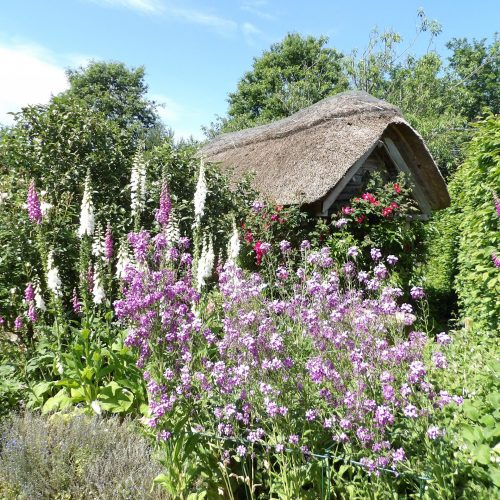 The cottage garden at RHS Rosemoor in Great Torrington, close to Bampfield Farm Holiday Cottages.